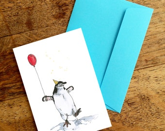 Party Penguins One Balloon A6 Greetings Card