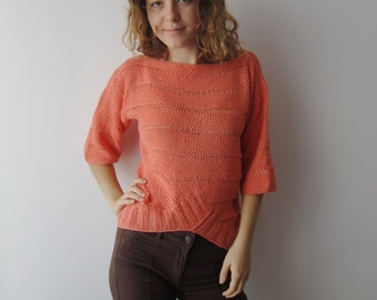 Summer Sweater Salmon Knitted Top Medidium Size Knitted Blouse Short Sleeve Sweater Romantic Sweater Women's Knitted Top Office Sweater