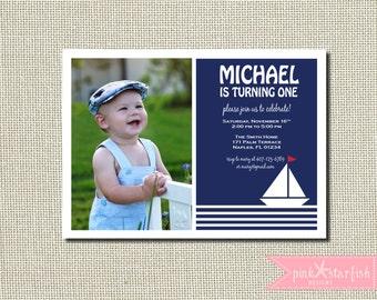 Nautical Birthday Invitation, First Birthday Invitation, Nautical Invitation, Printable Invitation, Sailboat Invitation, Anchor, Navy Blue
