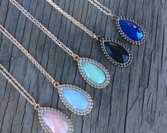 Acrylic Stone  Necklace, Long Necklace Pendant, Long Statement Necklace, Long Beaded Necklace