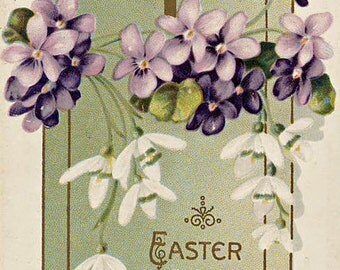 Vtg Easter Postcard Joys Be Yours Violets Snowdrops Cross