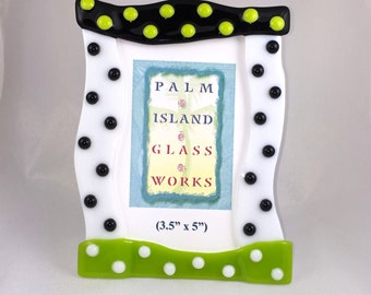 "Fused Glass Picture Frame - ""Miami"" - 3.5"" W x 5"" H"