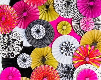 40pc Set of pink black gold Paper Pinwheel's Rosette paper Flower Party Decoration wedding birthday shower pinwheel table decour pinwheels