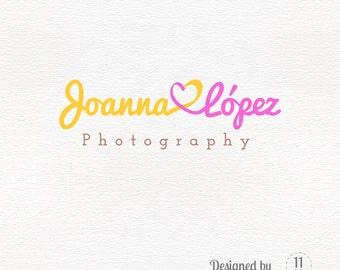 Heart logo premade, customizable, bicolor, fun logo design, photography watermark