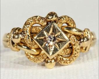 Sweet Victorian Love Knot Ring with Diamond Center, Hallmarked 1871