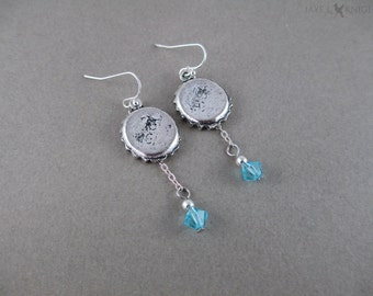 Fallout Bottle Cap Charm Earrings - Silver Charms