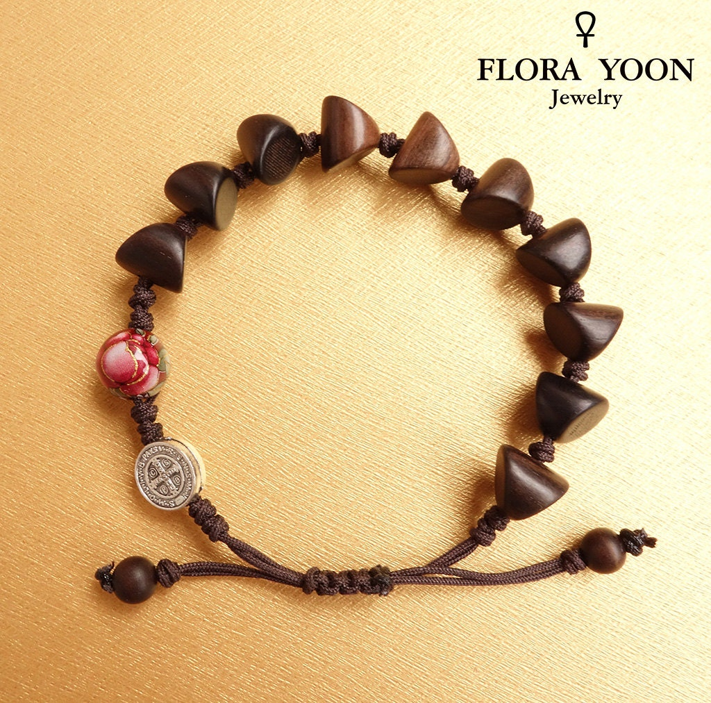The Stylish Knotted Wood Rosary Bracelet With Antique Silver