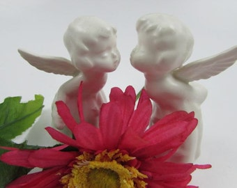 Vintage Kissing Angel Figurines with Birds on Gowns