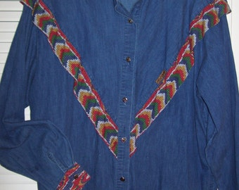Vintage Banjo of Dallas Denim Western Shirt, See Back Pic.  Size XL