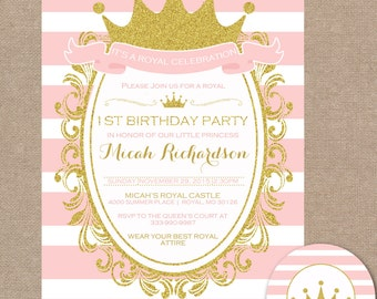 Princess Birthday Party, Royal Birthday Party, Princess Invitation, Princess Invite, Royal Celebration, Pink (#714)