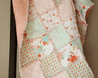 SALE Coral and Mint Quilt