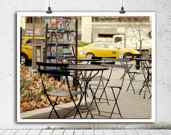 New York City photography, New York City art print, street cafe art Upper West Side, yellow cab nyc picture, Manhattan New York street scene