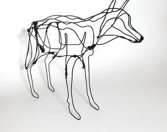 Hand made wire wolf sculpture