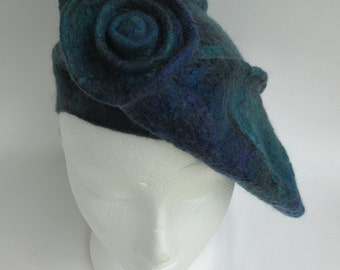 Green and purple sculpted felt beret