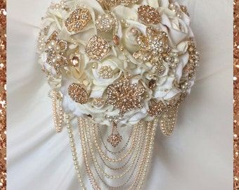 Rose Gold Brooch Bouquet, Brooch Bouquet, Rose Gold Cascading Brooch Bouquet, Full Price 200.00 & up, Reserve with only a deposit!