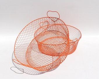Wire Basket Pair Metal Baskets Round Orange Storage Modern Decor Dining Table Centerpiece Bathroom Toiletries Holder Planter Fruit
