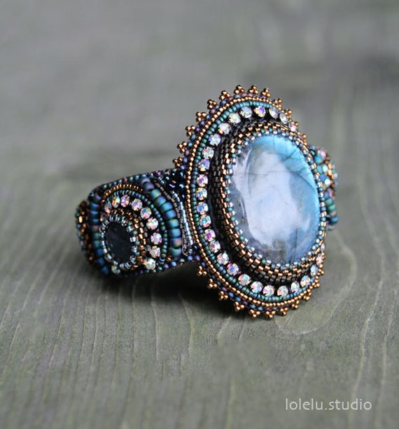 Bead embroidery cuff bracelet with labradorite cabochon