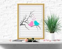 Nursery birds printable Bird print Pink and Aqua Nursery wall decor Pink and turquoise Nursery Baby Girls wall art 5x7, 8x10, 11x14 Download