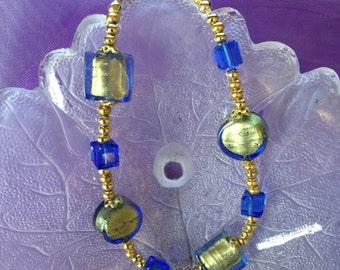 "Sapphire and Gold 7 3/4"" Venetian Glass Bracelet"