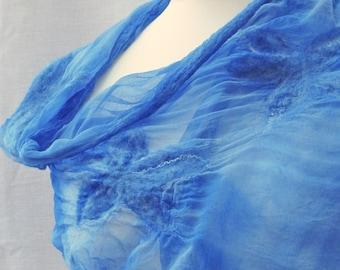Blue silk nuno felt Wrap Shawl elegant cover up