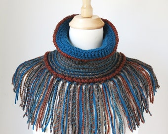 Fringed Scarf, Boho Crochet Shawl, Teal Cowl, Brown Earth Tones, Woodland Colors, Unique Bohemian Clothing, Tube Scarf with Fringe
