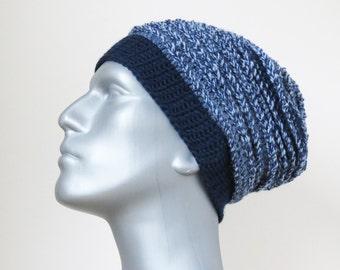 Slouchy Beanie, Men's Wool Hat, Blue Crochet Beanie, Handmade Gifts for Men, Slouch Hat, Chunky Dark Blue Oversized Winter Hat
