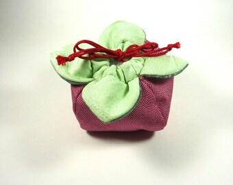 """KIMONO POUCH, """"Persimmon / KAKI"""", for cosmetic, accessory, jewelry"""