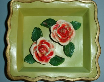 Charming Vintage Chalkware Rose Shadowbox Wall Plaque
