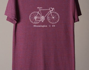 Bloomington Indiana tshirt, Bloomington tshirt, Bloomington bike tee, custom cycling shirt