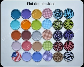 Double sided flat bottle caps solids/prints (100)