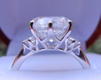 Three Stone Engagement Ring Setting, 9mm Ring Setting, Past Present Future Semi Mount, Large Ring Setting