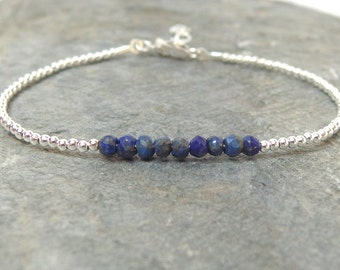 Birthstone bracelet, Beaded birthstone bracelet, Lapis lazuli bracelet, September birthstone, Dainty gemstone bracelet, Delicate bracelet