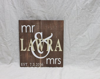 Wooden Family Name Sign - personalized wooden sign for wedding decor, home decor, rustic home decor, Mr. and Mrs.