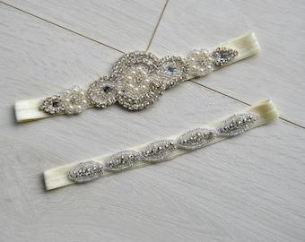 Crystal Garter Set, Wedding Garter Set Ivory White Flower Bridal Garter Set Vintage Wedding Crystal Rhinestone Toss Garter Set