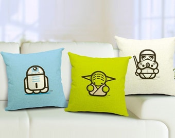 Star Wars Pillow Chibi R2D2 Yoda C3PO Stormtrooper