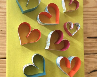 Neon Hearts Pop-Out Wall Art