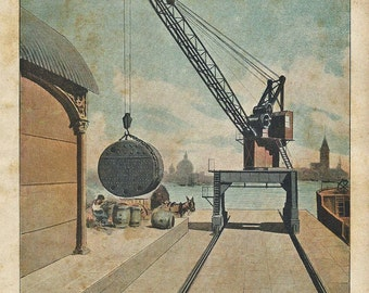 """1900 Electric Crane 20 tons, """"Russell System"""". Print original antique 115 years old nice print!"""