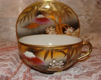 Japanese Iterpretive Tea Cup & Saucer