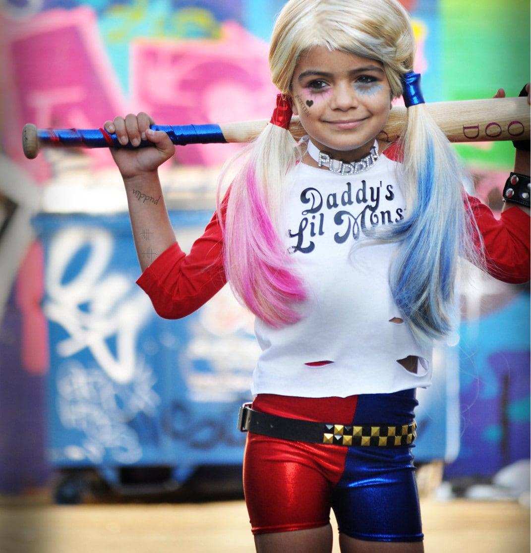 Harley Quinn inspired Shorts. Girls Red/Blue Metallic shorts.