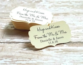 Mini Hugs and Kisses from the Mr. and Mrs Tags, Wedding tags, Kisses from the Mrs, Future Mr and Mrs, Mini wedding tag, bridal shower (070)