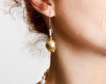 Gold Pomegranate gold Hook Earrings, Hammered Gold Jewelry, Long Pearl Earrings, Fashion Jewelry, Summer Gifts Ideas