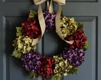 Summer Wreath | Front Door Wreaths | Outdoor Wreaths | Wreaths for Door | Winter Wreath | Hydrangea Wreath
