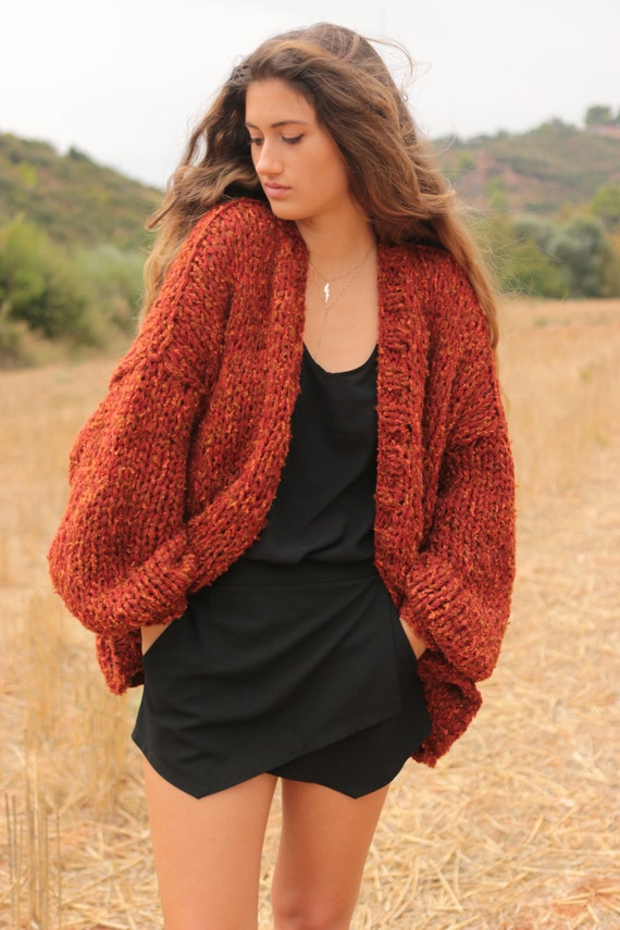 Chunky cardigan in sienna red tweed oversized sweater loose