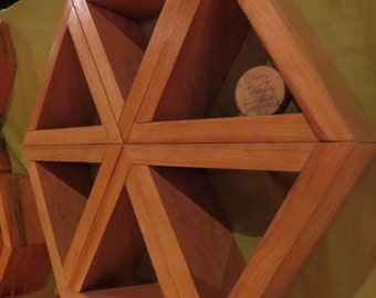 The Triangle Hex in Cherry Hardwood ~ Set of 6 Triangle Shelves, or one hexagon shelf with triangle compartments, modular geometric shelving