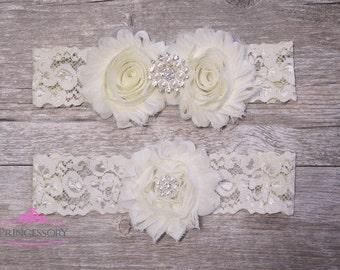 Wedding Garter Set, Wedding Garter Ivory, Lace Garter, Bridal Garter, ivory lace, lace wedding garter, wedding gift, plus size garter WG02