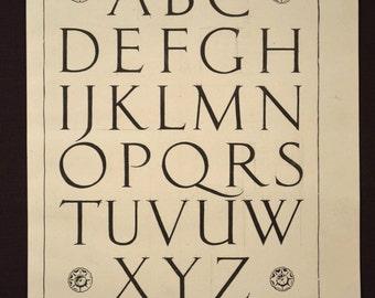 Lettering Print Wall Art Alphabet Wall Decor Ephemera Roman Antique