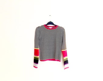 Striped Long Sleeve Tee // Playful Vintage Tee // 70's striped long sleeve