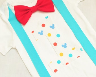 Mickey Mouse first birthday onesie- Mickey Mouse suspenders onesie