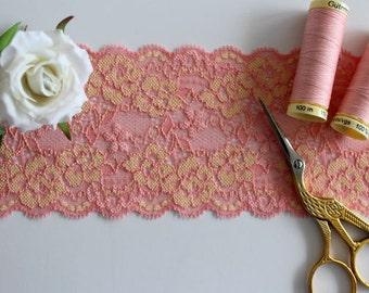 Stretch lace, stretch lace trim, lace trim, peach stretch lace, narrow lace, narrow stretch lace, floral lace trim, lace yardage