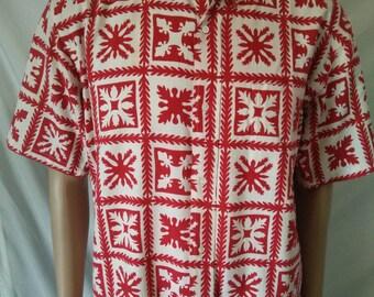 Sun Surf Hawaiian vintage men's shirt floral print 100% cotton size Large